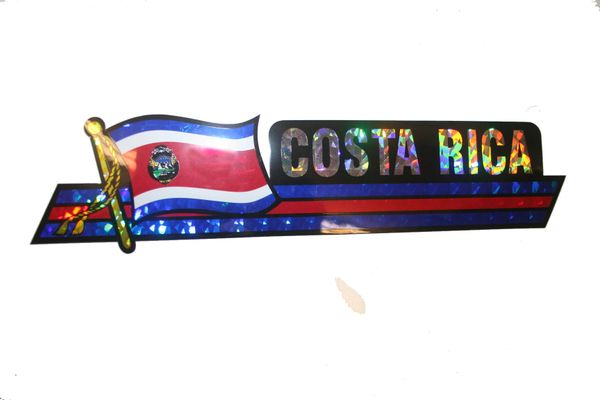 "COSTA RICA LONG COUNTRY FLAG METALLIC BUMPER STICKER DECAL .. 11 3/4"" X 3"" INCHES .. HIGH QUALITY ..NEW AND IN A PACKAGE"