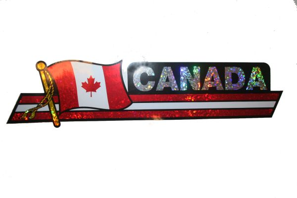 """CANADA LONG COUNTRY FLAG METALLIC BUMPER STICKER DECAL .. 11 3/4"""" X 3"""" INCHES .. HIGH QUALITY ..NEW AND IN A PACKAGE"""