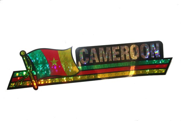 "CAMEROON LONG COUNTRY FLAG METALLIC BUMPER STICKER DECAL .. 11 3/4"" X 3"" INCHES .. HIGH QUALITY ..NEW AND IN A PACKAGE"
