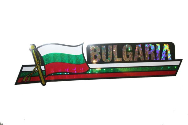 "BULGARIA LONG COUNTRY FLAG METALLIC BUMPER STICKER DECAL .. 11 3/4"" X 3"" INCHES .. HIGH QUALITY ..NEW AND IN A PACKAGE"
