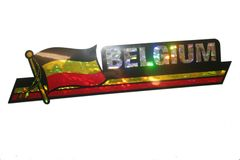 "BELGIUM LONG COUNTRY FLAG METALLIC BUMPER STICKER DECAL .. 11 3/4"" X 3"" INCHES .. HIGH QUALITY ..NEW AND IN A PACKAGE"