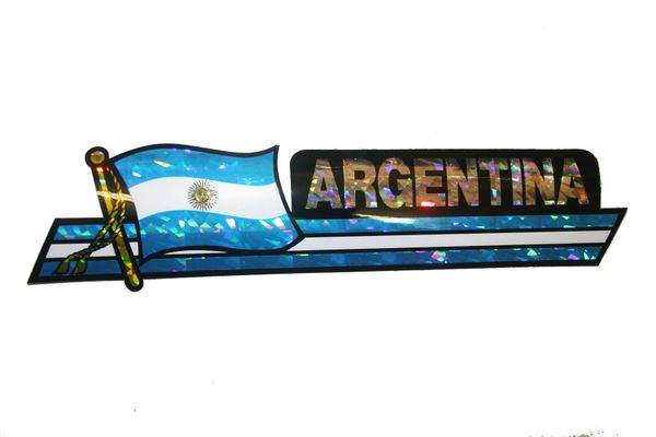 "ARGENTINA LONG COUNTRY FLAG METALLIC BUMPER STICKER DECAL .. 11 3/4"" X 3"" INCHES .. HIGH QUALITY ..NEW AND IN A PACKAGE"