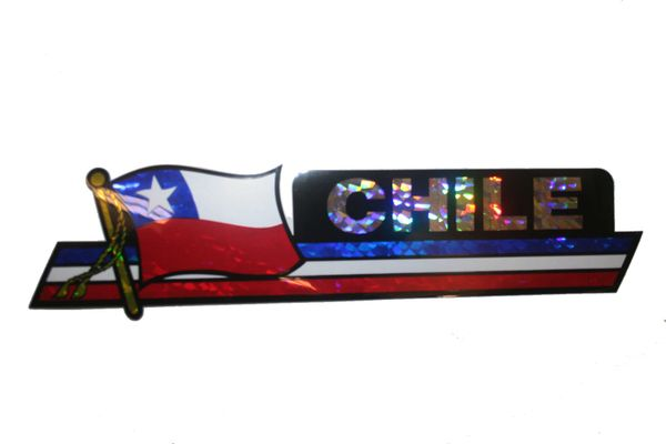 "CHILE LONG COUNTRY FLAG METALLIC BUMPER STICKER DECAL .. 11 3/4"" X 3"" INCHES .. HIGH QUALITY ..NEW AND IN A PACKAGE"