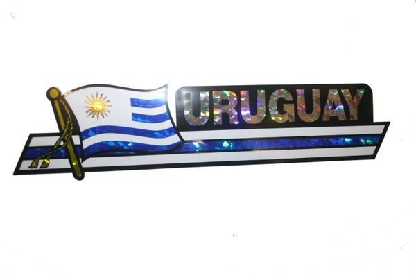 "URUGUAY LONG COUNTRY FLAG METALLIC BUMPER STICKER DECAL .. 11 3/4"" X 3"" INCHES .. HIGH QUALITY ..NEW AND IN A PACKAGE"