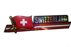 """SWITZERLAND LONG COUNTRY FLAG METALLIC BUMPER STICKER DECAL .. 11 3/4"""" X 3"""" INCHES .. HIGH QUALITY ..NEW AND IN A PACKAGE"""