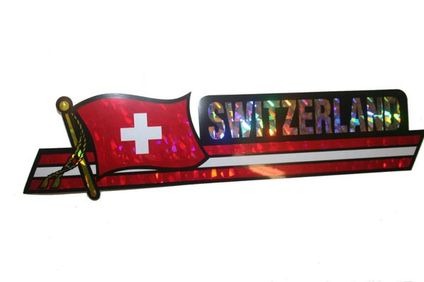 "SWITZERLAND LONG COUNTRY FLAG METALLIC BUMPER STICKER DECAL .. 11 3/4"" X 3"" INCHES .. HIGH QUALITY ..NEW AND IN A PACKAGE"