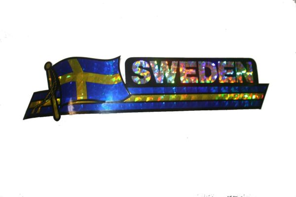 "SWEDEN LONG COUNTRY FLAG METALLIC BUMPER STICKER DECAL .. 11 3/4"" X 3"" INCHES .. HIGH QUALITY ..NEW AND IN A PACKAGE"