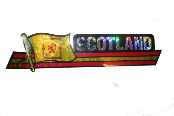 """SCOTLAND RAMPANT LION LONG COUNTRY FLAG METALLIC BUMPER STICKER DECAL .. 11 3/4"""" X 3"""" INCHES .. HIGH QUALITY ..NEW AND IN A PACKAGE"""