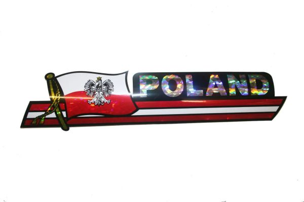 "POLAND WITH EAGLE LONG COUNTRY FLAG METALLIC BUMPER STICKER DECAL .. 11 3/4"" X 3"" INCHES .. HIGH QUALITY ..NEW AND IN A PACKAGE"