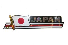 """JAPAN LONG COUNTRY FLAG METALLIC BUMPER STICKER DECAL .. 11 3/4"""" X 3"""" INCHES .. HIGH QUALITY ..NEW AND IN A PACKAGE"""