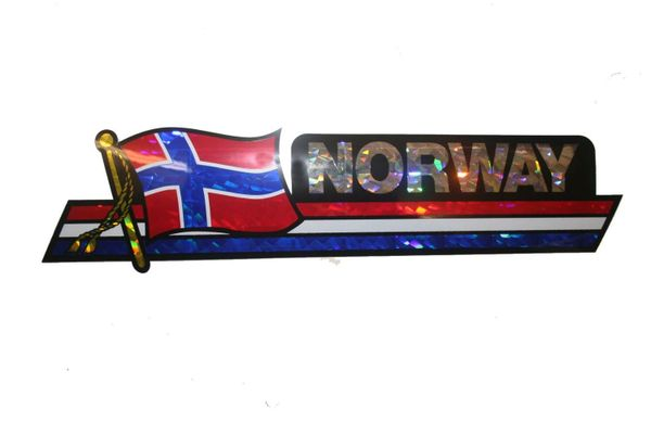 "NORWAY LONG COUNTRY FLAG METALLIC BUMPER STICKER DECAL .. 11 3/4"" X 3"" INCHES .. HIGH QUALITY ..NEW AND IN A PACKAGE"