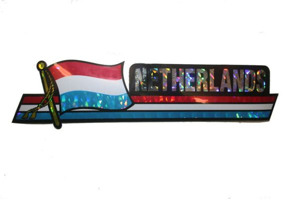 """NETHERLANDS LONG COUNTRY FLAG METALLIC BUMPER STICKER DECAL .. 11 3/4"""" X 3"""" INCHES .. HIGH QUALITY ..NEW AND IN A PACKAGE"""