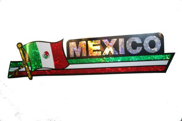 "MEXICO LONG COUNTRY FLAG METALLIC BUMPER STICKER DECAL .. 11 3/4"" X 3"" INCHES .. HIGH QUALITY ..NEW AND IN A PACKAGE"
