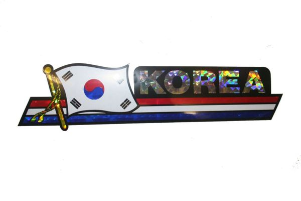 "SOUTH KOREA LONG COUNTRY FLAG METALLIC BUMPER STICKER DECAL .. 11 3/4"" X 3"" INCHES .. HIGH QUALITY ..NEW AND IN A PACKAGE"