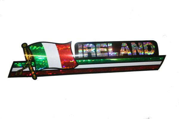 "IRELAND LONG COUNTRY FLAG METALLIC BUMPER STICKER DECAL .. 11 3/4"" X 3"" INCHES .. HIGH QUALITY ..NEW AND IN A PACKAGE"