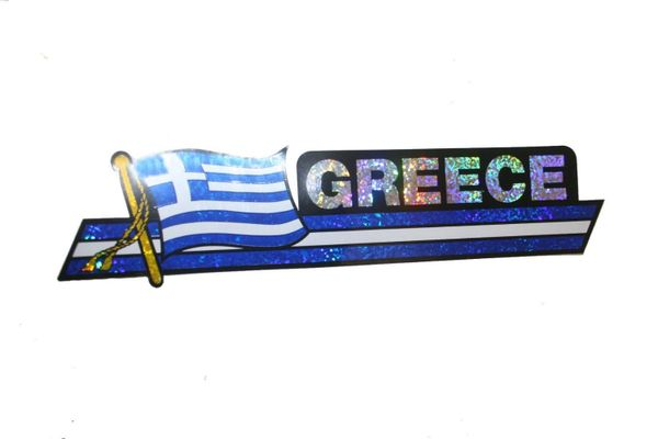 """GREECE LONG COUNTRY FLAG METALLIC BUMPER STICKER DECAL .. 11 3/4"""" X 3"""" INCHES .. HIGH QUALITY ..NEW AND IN A PACKAGE"""