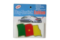"""CAMEROON COUNTRY FLAG WAVY BUMPER DECAL STICKER EMBLEM .. 3 1/2"""" X 2"""" INCHES .. HIGH QUALITY ..NEW AND IN A PACKAGE"""