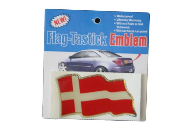 "DENMARK COUNTRY FLAG WAVY BUMPER DECAL STICKER EMBLEM .. 3 1/2"" X 2"" INCHES .. HIGH QUALITY ..NEW AND IN A PACKAGE"