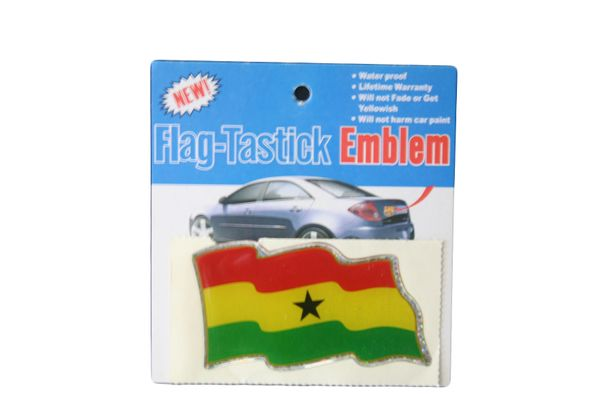 """GHANA COUNTRY FLAG WAVY BUMPER DECAL STICKER EMBLEM .. 3 1/2"""" X 2"""" INCHES .. HIGH QUALITY ..NEW AND IN A PACKAGE"""