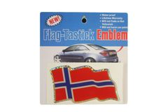 """NORWAY COUNTRY FLAG WAVY BUMPER DECAL STICKER EMBLEM .. 3 1/2"""" X 2"""" INCHES .. HIGH QUALITY ..NEW AND IN A PACKAGE"""