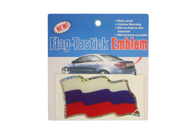 """RUSSIA COUNTRY FLAG WAVY BUMPER DECAL STICKER EMBLEM .. 3 1/2"""" X 2"""" INCHES .. HIGH QUALITY ..NEW AND IN A PACKAGE"""