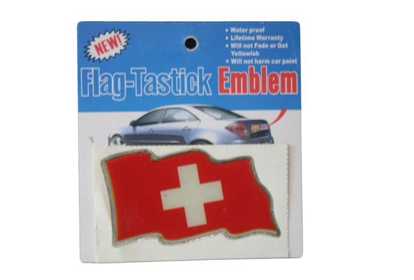"SWITZERLAND COUNTRY FLAG WAVY BUMPER DECAL STICKER EMBLEM .. 3 1/2"" X 2"" INCHES .. HIGH QUALITY ..NEW AND IN A PACKAGE"