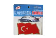 """TURKEY COUNTRY FLAG WAVY BUMPER DECAL STICKER EMBLEM .. 3 1/2"""" X 2"""" INCHES .. HIGH QUALITY ..NEW AND IN A PACKAGE"""