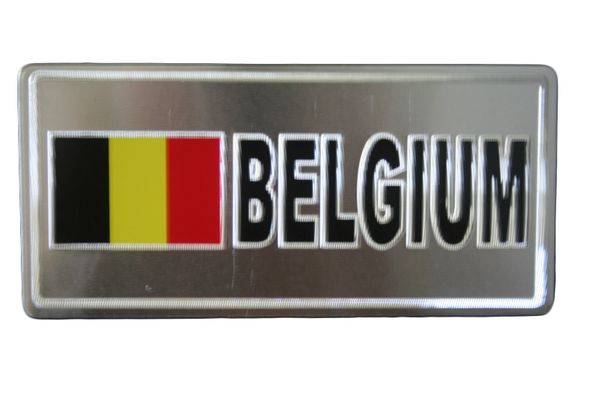 "BELGIUM COUNTRY FLAG SILVER SMALL METALLIC LICENSE PLATE DECAL STICKER EMBLEM .. 3"" X 6.5"" INCHES .. HIGH QUALITY ..NEW AND IN A PACKAGE"