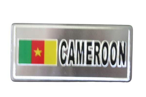 "CAMEROON COUNTRY FLAG SILVER SMALL METALLIC LICENSE PLATE DECAL STICKER EMBLEM .. 3"" X 6.5"" INCHES .. HIGH QUALITY ..NEW AND IN A PACKAGE"