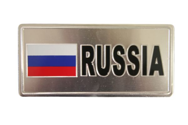 "RUSSIA COUNTRY FLAG SILVER SMALL METALLIC LICENSE PLATE DECAL STICKER EMBLEM .. 3"" X 6.5"" INCHES .. HIGH QUALITY ..NEW AND IN A PACKAGE"