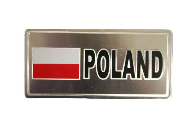 "POLAND COUNTRY FLAG SILVER SMALL METALLIC LICENSE PLATE DECAL STICKER EMBLEM .. 3"" X 6.5"" INCHES .. HIGH QUALITY ..NEW AND IN A PACKAGE"