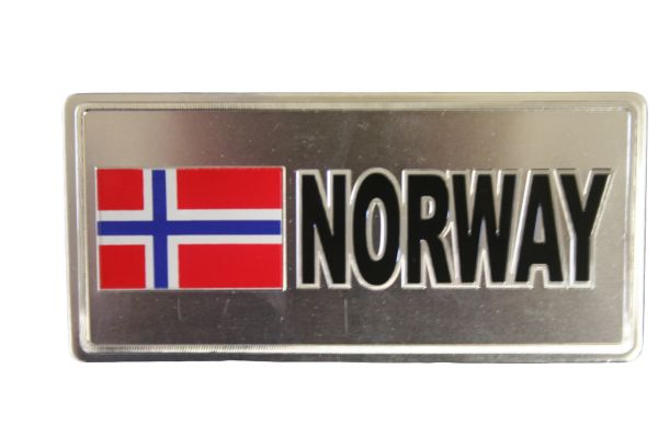 "NORWAY COUNTRY FLAG SILVER SMALL METALLIC LICENSE PLATE DECAL STICKER EMBLEM .. 3"" X 6.5"" INCHES .. HIGH QUALITY ..NEW AND IN A PACKAGE"