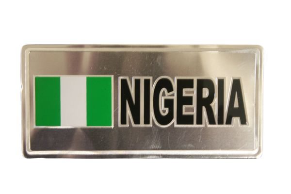"""NIGERIA COUNTRY FLAG SILVER SMALL METALLIC LICENSE PLATE DECAL STICKER EMBLEM .. 3"""" X 6.5"""" INCHES .. HIGH QUALITY ..NEW AND IN A PACKAGE"""