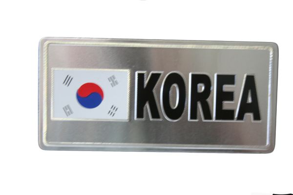 "SOUTH KOREA COUNTRY FLAG SILVER SMALL METALLIC LICENSE PLATE DECAL STICKER EMBLEM .. 3"" X 6.5"" INCHES .. HIGH QUALITY ..NEW AND IN A PACKAGE"