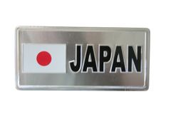 """JAPAN COUNTRY FLAG SILVER SMALL METALLIC LICENSE PLATE DECAL STICKER EMBLEM .. 3"""" X 6.5"""" INCHES .. HIGH QUALITY ..NEW AND IN A PACKAGE"""