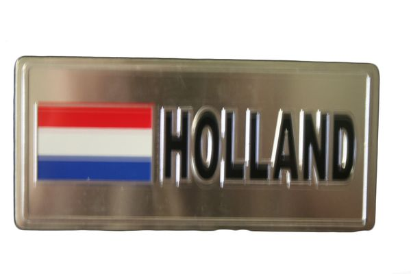 "HOLLAND COUNTRY FLAG SILVER SMALL METALLIC LICENSE PLATE DECAL STICKER EMBLEM .. 3"" X 6.5"" INCHES .. HIGH QUALITY ..NEW AND IN A PACKAGE"