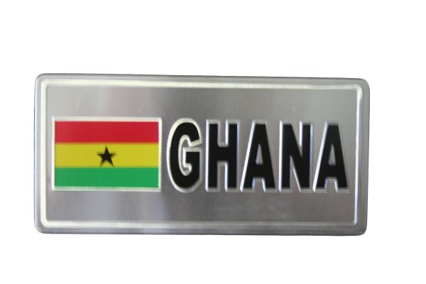 """GHANA COUNTRY FLAG SILVER SMALL METALLIC LICENSE PLATE DECAL STICKER EMBLEM .. 3"""" X 6.5"""" INCHES .. HIGH QUALITY ..NEW AND IN A PACKAGE"""