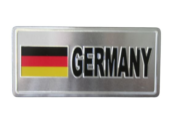 """GERMANY COUNTRY FLAG SILVER SMALL METALLIC LICENSE PLATE DECAL STICKER EMBLEM .. 3"""" X 6.5"""" INCHES .. HIGH QUALITY ..NEW AND IN A PACKAGE"""