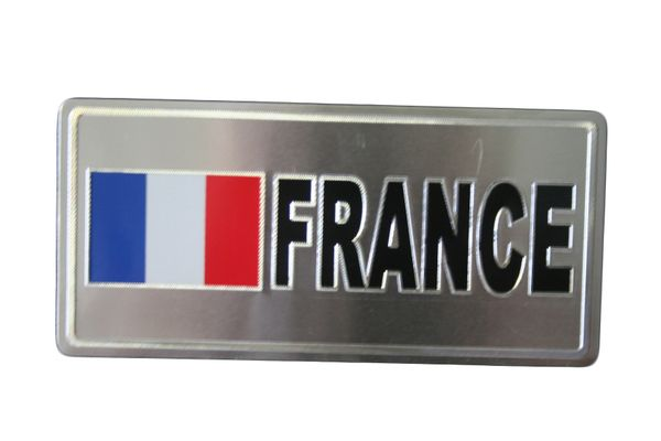 "FRANCE COUNTRY FLAG SILVER SMALL METALLIC LICENSE PLATE DECAL STICKER EMBLEM .. 3"" X 6.5"" INCHES .. HIGH QUALITY ..NEW AND IN A PACKAGE"
