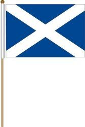 "SCOTLAND - ST. ANDREW LARGE 12"" X 18"" INCHES COUNTRY STICK FLAG ON 2 FOOT WOODEN STICK .. NEW AND IN A PACKAGE."