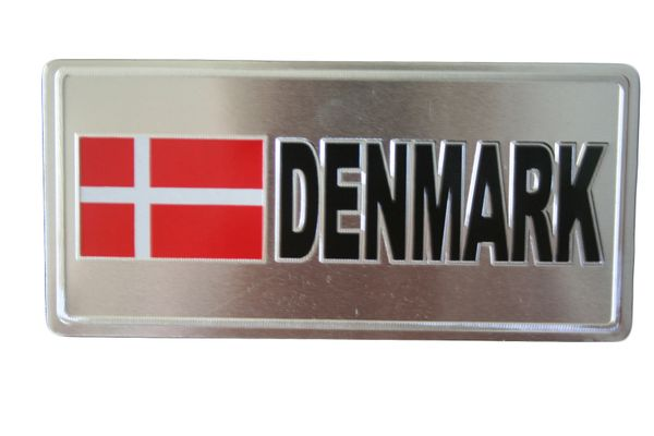 """DENMARK COUNTRY FLAG SILVER SMALL METALLIC LICENSE PLATE DECAL STICKER EMBLEM .. 3"""" X 6.5"""" INCHES .. HIGH QUALITY ..NEW AND IN A PACKAGE"""