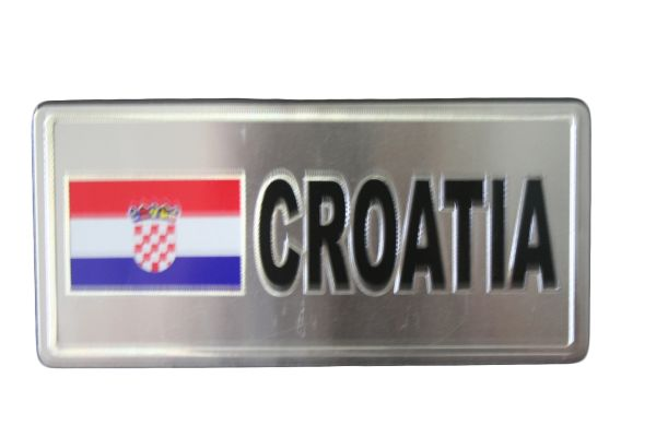 """CROATIA COUNTRY FLAG SILVER SMALL METALLIC LICENSE PLATE DECAL STICKER EMBLEM .. 3"""" X 6.5"""" INCHES .. HIGH QUALITY ..NEW AND IN A PACKAGE"""
