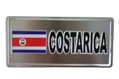 """COSTA RICA COUNTRY FLAG SILVER SMALL METALLIC LICENSE PLATE DECAL STICKER EMBLEM .. 3"""" X 6.5"""" INCHES .. HIGH QUALITY ..NEW AND IN A PACKAGE"""