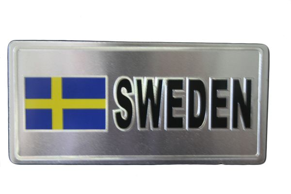 "SWEDEN COUNTRY FLAG SILVER SMALL METALLIC LICENSE PLATE DECAL STICKER EMBLEM .. 3"" X 6.5"" INCHES .. HIGH QUALITY ..NEW AND IN A PACKAGE"