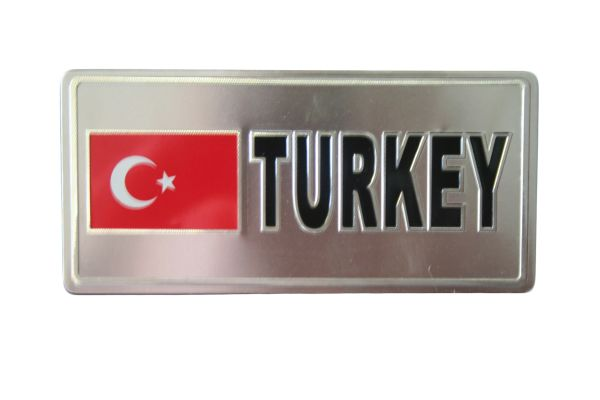 "TURKEY COUNTRY FLAG SILVER SMALL METALLIC LICENSE PLATE DECAL STICKER EMBLEM .. 3"" X 6.5"" INCHES .. HIGH QUALITY ..NEW AND IN A PACKAGE"
