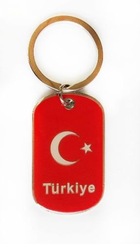 TURKEY COUNTRY FLAG METAL KEYCHAIN .. NEW AND IN A PACKAGE