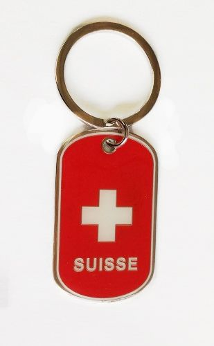 SWITZERLAND COUNTRY FLAG METAL KEYCHAIN .. NEW AND IN A PACKAGE
