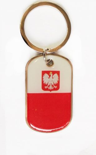 POLAND WITH EAGLE COUNTRY FLAG METAL KEYCHAIN .. NEW AND IN A PACKAGE