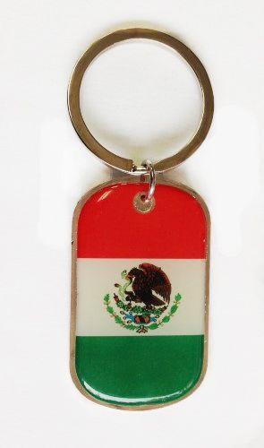MEXICO COUNTRY FLAG METAL KEYCHAIN .. NEW AND IN A PACKAGE