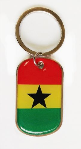 GHANA COUNTRY FLAG METAL KEYCHAIN .. NEW AND IN A PACKAGE